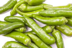Green Peppers Hot. Chili peppers isolated on white background Royalty Free Stock Photography