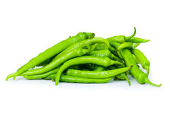 Green peppers isolated. On the white background Royalty Free Stock Photo
