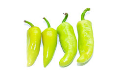 Green Peppers isolated on white background. This has clipping path Stock Images