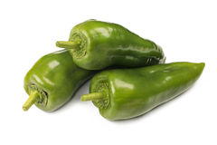 Green peppers isolated on white background Stock Photo