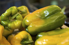 Green peppers on a market stall Royalty Free Stock Photo