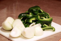 Green peppers and onions Royalty Free Stock Photography