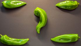 Green peppers for poster. Green peppers placed to be on a poster and put letters or not in the defense of vegetarianism Stock Photography