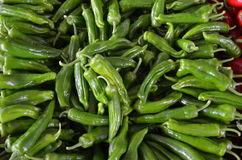 Green peppers on  stall in bazaar antalya turkey Royalty Free Stock Image