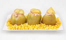 Green peppers stuffed Stock Photo