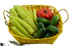 Green peppers, tomato and cucumbers isolated Royalty Free Stock Images