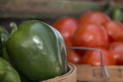 Green Peppers and Tomatoes. At Farmers Market in Grand Haven Michigan stock images