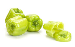 Green peppers on white Royalty Free Stock Photo