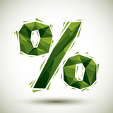 Green percent geometric icon made in 3d modern style, best for u Royalty Free Stock Photo