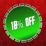 Green 10 PERCENT OFF badge on red pattern background. Illustration Royalty Free Stock Photo