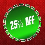 Green 25 PERCENT OFF badge on red pattern background. Illustration Stock Photos