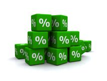 Green percentage blocks royalty free stock photography