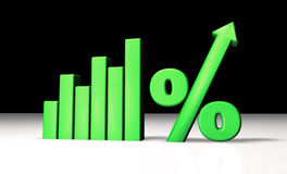 Green Percentage Graph. Green growing graph with percentage and arrow symbol Stock Images