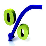 Green Percentage Symbol Shows Reduced Price Royalty Free Stock Images