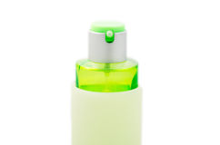 Green perfume bottle isolated Royalty Free Stock Photography