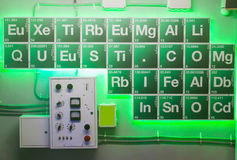 Green periodical table. In the chemical laboratory Stock Image