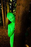 Green Person behind a tree Royalty Free Stock Photos