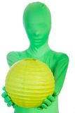 Green person with a green ball Stock Image
