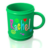 Green personalized plastic mug. Green personalized decorated green plastic mug on white background for kids Stock Images