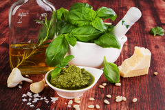 Green pesto. Royalty Free Stock Photo