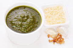 Green Pesto with Pine Nuts Garlic Parmesan Cheese Stock Photo