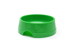 Green pet bowl for animals Stock Images