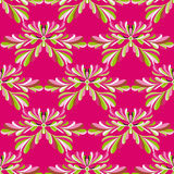 Green petals of flowers on a pink background vector seamless pattern Stock Photography