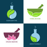 Green pharmacy and herbal medicine icons Stock Photo