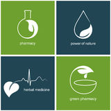 Green pharmacy and herbal medicine icons. Set of icons and emblems with leaves for green pharmacy and herbal medicine Stock Photos