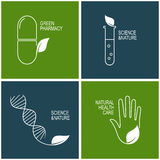 Green pharmacy and herbal medicine icons Stock Image