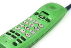 Green Phone. Tube radiotelephone green, shallow depth of field Royalty Free Stock Image