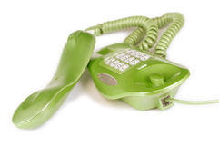 Green phone. Isolated on white Royalty Free Stock Photos