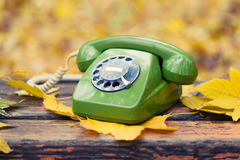 Green phone on bench in autumn park Royalty Free Stock Images