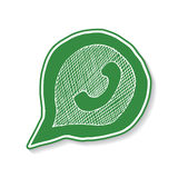 Green phone handset in speech bubble hand drawn icon, vector illustration isolated on white background. Green phone handset in speech bubble hand drawn icon royalty free illustration