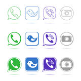 Green phone handset in speech bubble vector icon Stock Photo