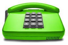 Green phone with shadow on isolated white background Stock Photo
