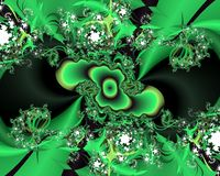Green phosphorescent fractal abstract background, flowery texture. Green phosphorescent fractal background, flowery creative texture. Colors are placed at random royalty free stock images