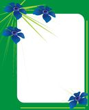 Green photo frame with blue flowers. Green photo frame adorned with blue flowers Royalty Free Stock Photo