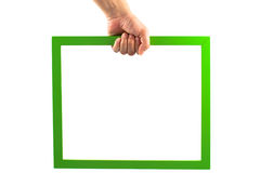Green photo frame in hand Stock Photography