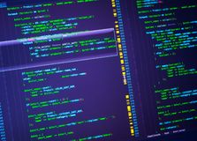 Green php code on purple background in code editor, closeup. Green php code on violet background in code editor, closeup. Programming concept royalty free stock images
