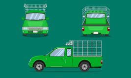 Green pickup truck cab with car steel grating front side back view transport vector illustration eps10. Green pickup truck cab with car steel grating front side vector illustration