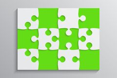 Green Piece Puzzle Banner. 12 Step. Background. Green Piece Puzzle Rectangle Banner. Puzzle Business Presentation. Rectangle Puzzle Infographic. 12 Step Process Stock Photos