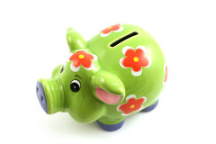 Green piggy bank. Close up isolated in studio Royalty Free Stock Photo