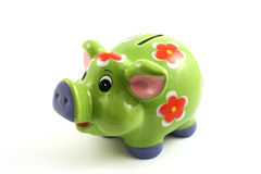 Green piggy bank. Close up isolated in studio Stock Images