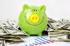 Green piggy bank and chart. Green piggy bank, business chart and dollars Stock Photography