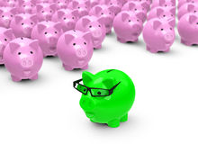 The green piggy bank. 3d generated picture of an outstanding smart, green piggy bank Royalty Free Stock Photos