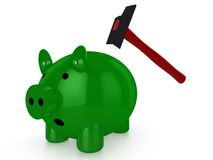 Green piggy bank with hammer Royalty Free Stock Photos