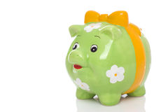 Green piggy bank. Green piggy bank, isolated on white background Royalty Free Stock Photography