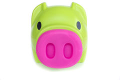 Green piggy bank isolated on a white background Stock Photography