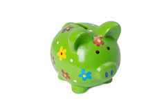 Green piggy bank or money box. Isolated on white background Royalty Free Stock Photo